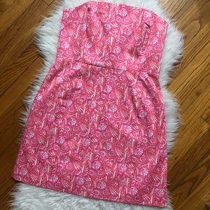 Vineyard vines pink strapless shell print dress 12